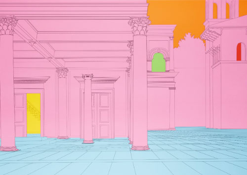 Michael Craig-Martin (1941), 'Deconstructing Piero (Pink),' 2004, pair of screenprints in colours, published by Alan Cristea Gallery, London, on sturdy wove paper, 63 x 88.2 cm